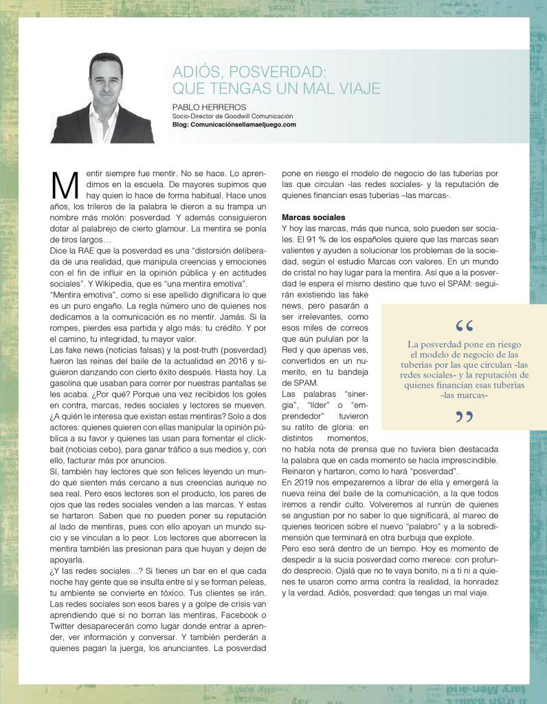 Artículo de Pablo Herreros sobre la posverdad para el Anuario de Dircom 2018