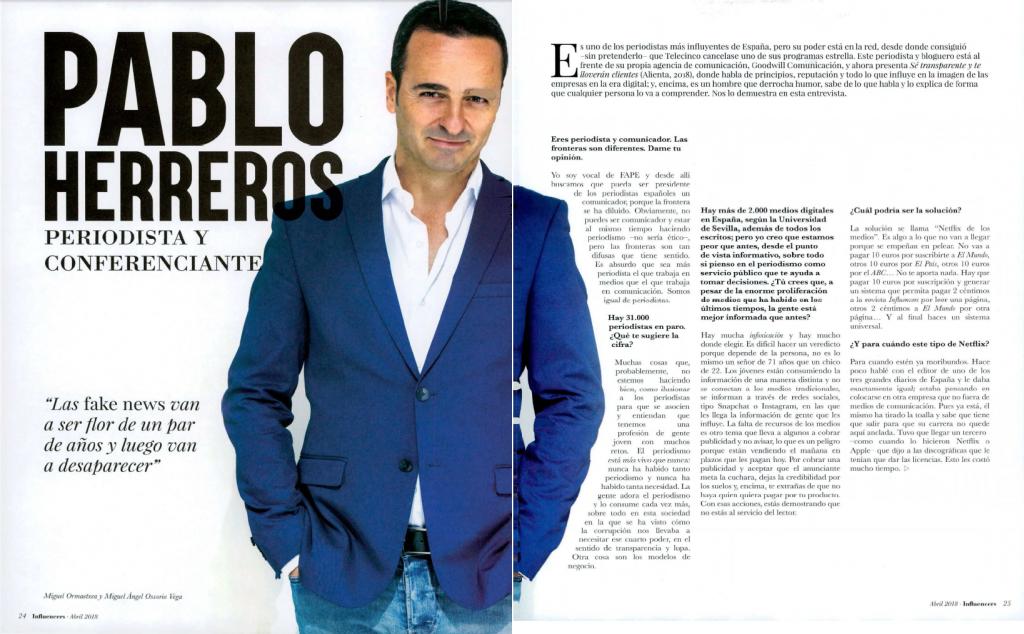 Entrevista a Pablo Herreros en la revista Influencers