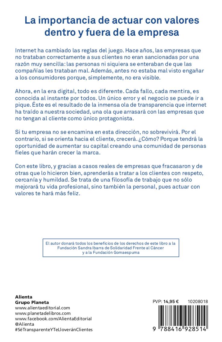 Contraportada libro Sé transparente y te lloverán clientes (Alienta, 2018), de Pablo Herreros