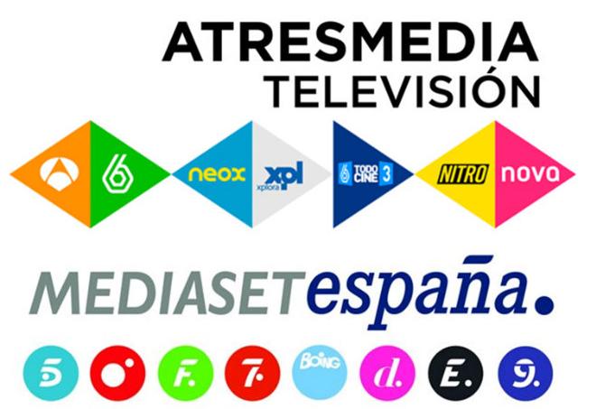 Logos de los canales de Atresmedia y Mediaset