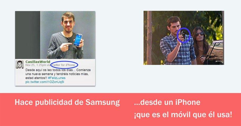 Samsung contrata a Íker casillas pero él utiliza teléfonos de Apple